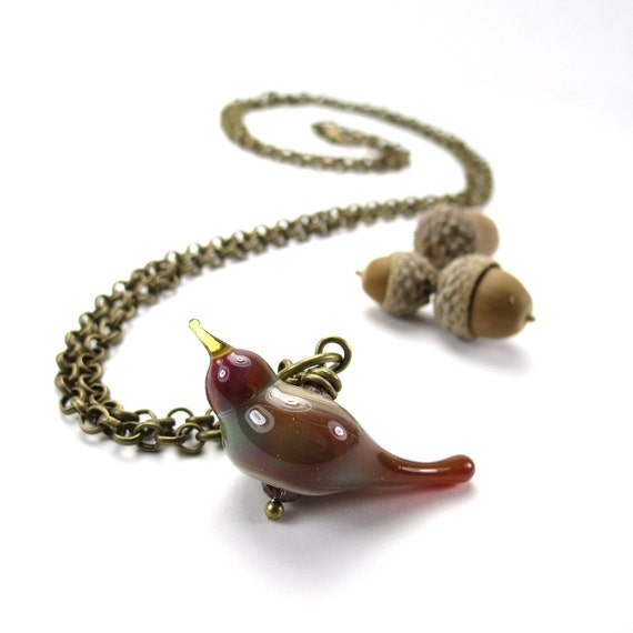 Woodland bird necklace, gift for bird lovers