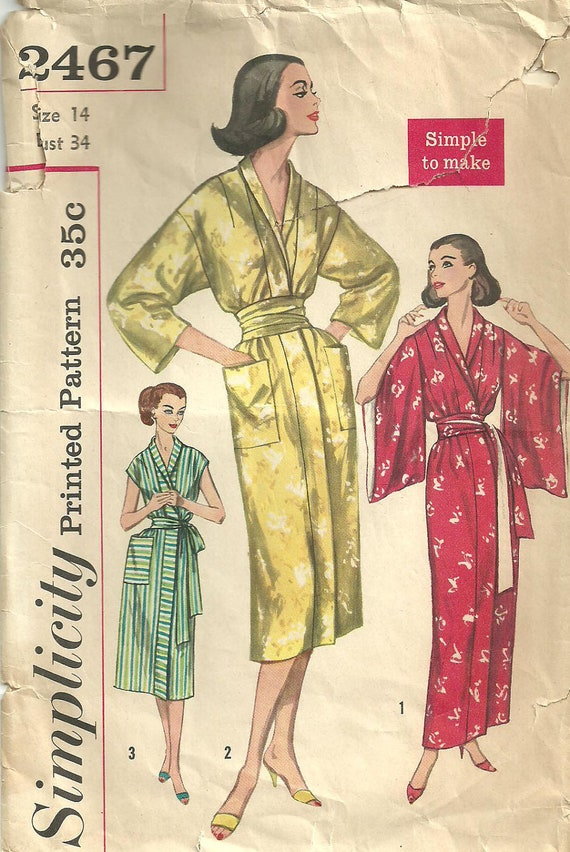 Simplicity 2467 Vintage Fifties Sewing Pattern Robe