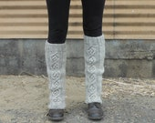 Natural Color Wool Handknit Legwarmers, in Cable Pattern