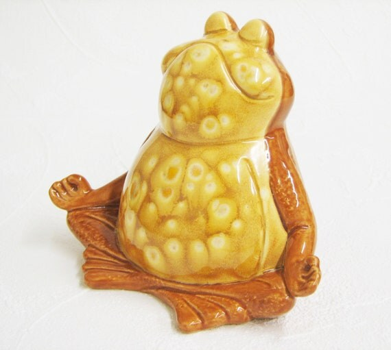 Ceramic Frog Golden Honey Brown Handmade Meditating Yoga Zen Frog Figurine