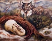 Lynx and Snowshoe Hare-- original landscape oil painting