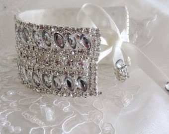 Wedding Bridal Rhinestone Crystal Bracelet Cuff with Ribbon Closure