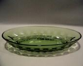 Vintage Green Thumbprint Celery Dish Hazel Atlas Glass
