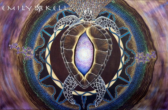 """shipibo inspired turtle yoni dmt inspired print """"Return To A Time When The Earth Was On A Turtle's Backl"""""""
