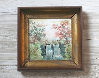 Painting, Vintage Framed Art Antique Painting on Porcelain Tile Gold Wood Frames