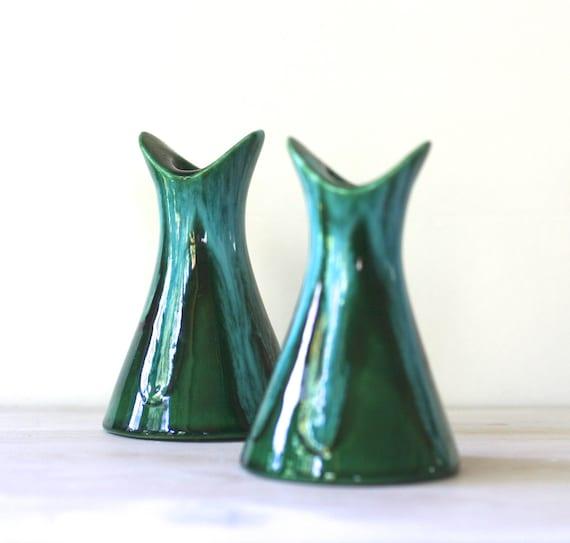 Mid Century Ceramic Candlestick Holders Turquoise Drip Glaze