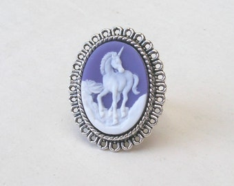 Unicorn Ring in Silver, Unicorn Cameo Ring, Purple Unicorn Ring, Purple Ring