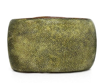 Olive Green Shagreen Minaudiere / Evening Bag