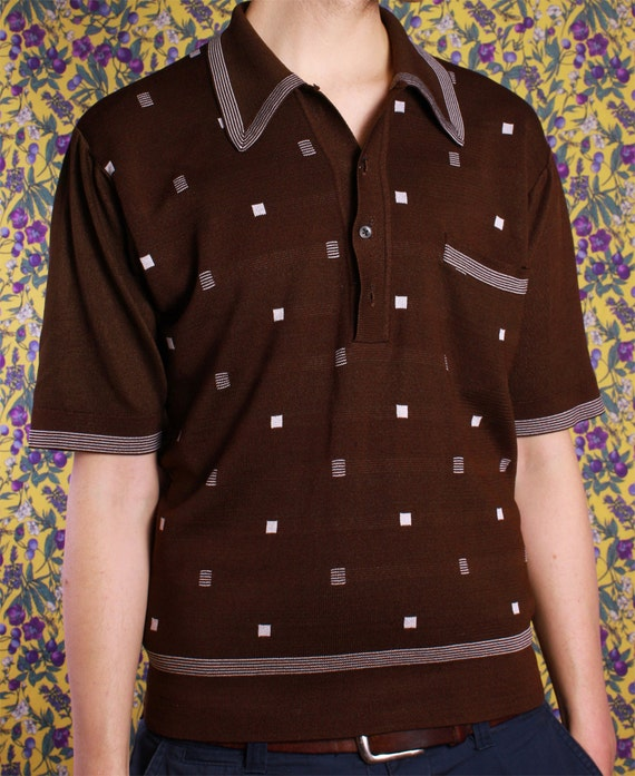 Vintage Brown Collared Polo Shirt Mens Medium