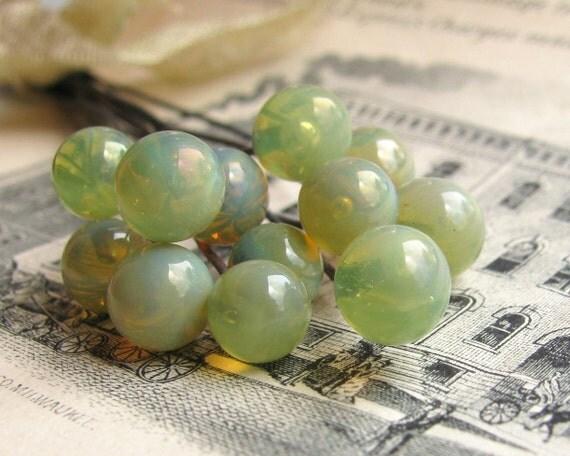 """Glass headpin """"Hemlock"""" light grape linden green (3 heapins) handmade, 6mm round head pin, 3"""" long oxidized copper wire, 22 gauge"""