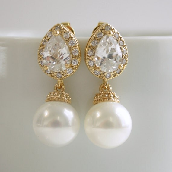 items similar to wedding earrings gold pearl jewelry pearl