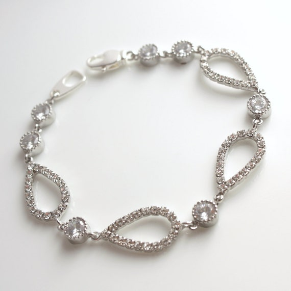 Wedding Bracelet Wedding Jewelry Bridal Bracelet Teardrop Cubic Zirconia Silver Bracelet