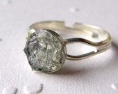 Stained Glass Small Druzy Ring, Crystal Druzy, Stained Glass Jewelry