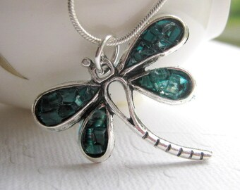 Dark Aquamarine Dragonfly Necklace, Stained Glass Mosaic Dragonfly Jewelry, Sterling Silver,