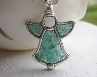 Aquamarine Stained Glass Angel Necklace, Stained Glass Angel, Mosaic Angel Necklace