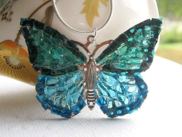 Blue Butterfly Jewelry: Butterfly Jewelry Blue Butterfly Necklace Glass Butterfly