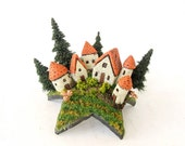 French Fairy Farm Houses Upon a Star - Tiny Landscaped Village, Mushrooms and Pine Trees by Bewilder and Pine