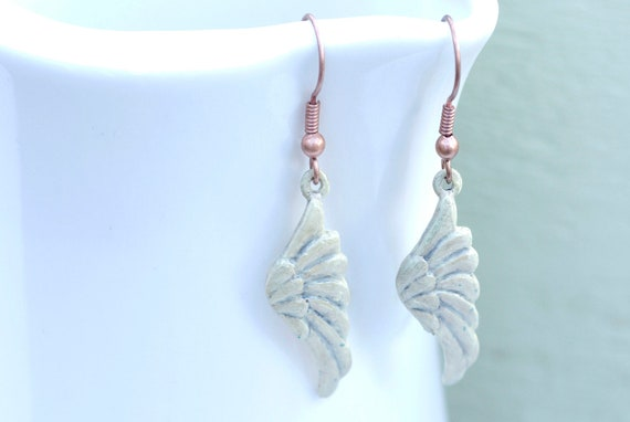 Angel Wings Earrings, White Patina Earrings, Copper Patina Earrings, Stamped Metal Earrings, White Earrings, Metal Jewelry