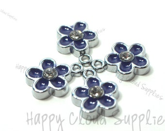 Little Purple Daisy Flower Enamel Charms with Rhinestones... 4pcs...