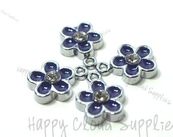 Little Purple Daisy Flower Enamel Charms with Rhinestones... 4pcs...