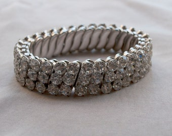 Vintage Rhinestone Stretch Watch Band Bracelet