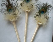 Cream Ivory Peacock Feather Fairy Wand for a Flower Girl Wedding - Custom Made to Order