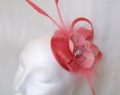 Coral Watermelon Pink Arrow Feather Sinamay Rhinestone & Orchid Flower Wedding Fascinator Mini Hat - Custom Made to Order