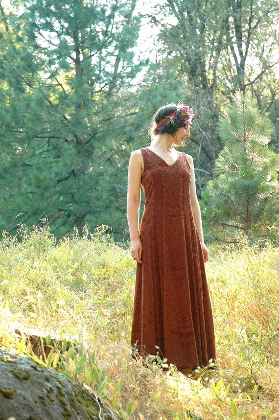 S A L E....... Indian Rayon Maxidress.... Boho Autumn Dress... TALK to the TREES (s)