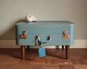 Lucky Luggage Blue Table - Low-rider Side Table - Recycled&Upcycled