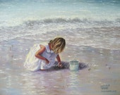 Finding Sea Glass Print - girl on beach, beach paintings, beach girl, shelling, Vickie Wade art