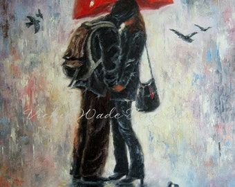 Lovers Kissing Art Print, love in rain, kissing in rain, red umbrella, romantic, teenagers kiss, young couple kissing, gift, Vickie Wade art