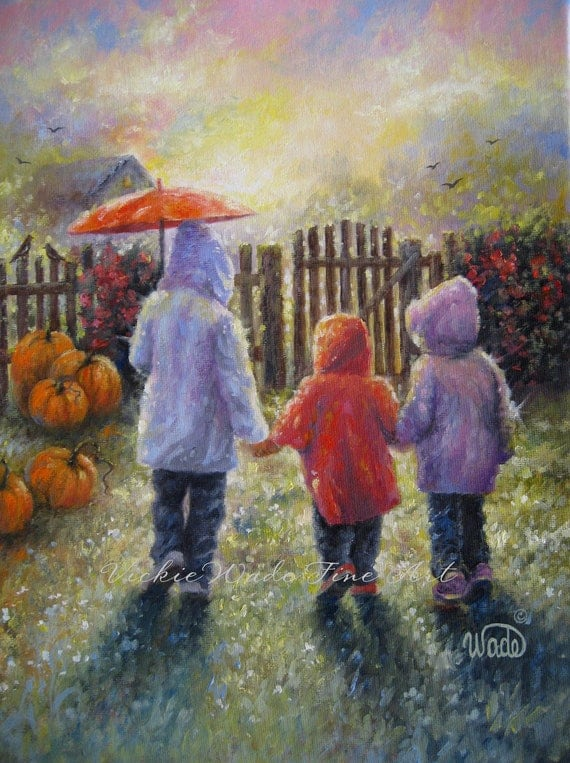 Three Rain Girls Print Three Sisters Pumpkins Fall Autumn