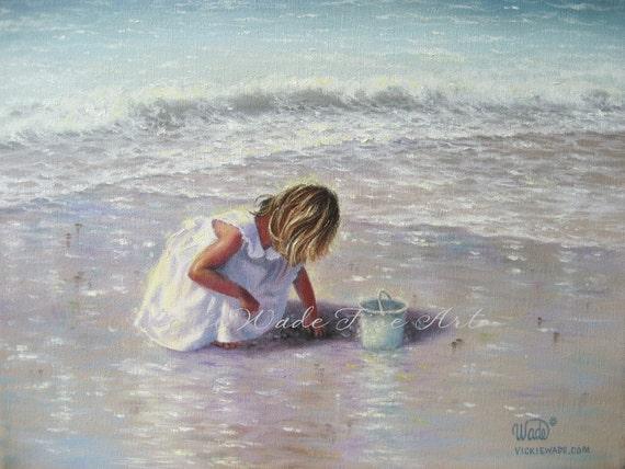Finding Sea Glass Print - girl on beach, beach paintings, beach girl, shelling, Vickie Wade art