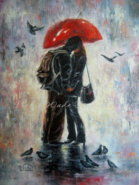 Lovers Kissing Art Print love in rain kissing in rain red