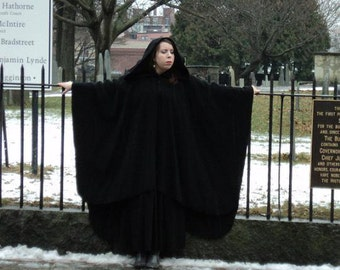 Wool Wrap Cape Ruana, with Dramatic Velvet Lined Hood