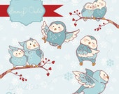 Winter Whimsy Owls - digital clipart- printable artwork - commercial use