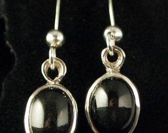 Sterling Silver and Black Diopside Drop Earrings