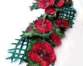 Nuno Felted scarf   Poppy red green flower autumn