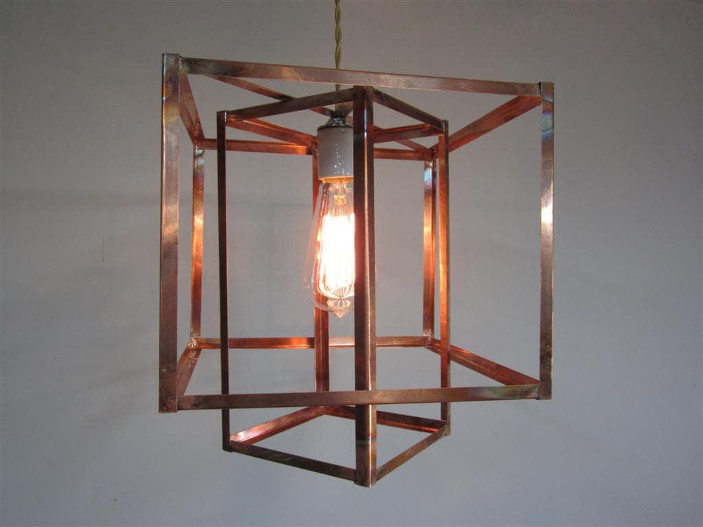 Industrial Geometric Copper Hanging Pendant Light Chandelier