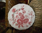 Red Pink Toile Transferware Plate Cabbage Roses