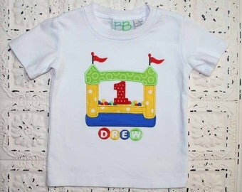 Bouncy Ball Bounce House Birthday Shirt- Birthday number or Initials- Free Personalization- Monogrammed