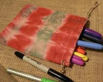 Red and Green Tie Dye Drawstring Pouch