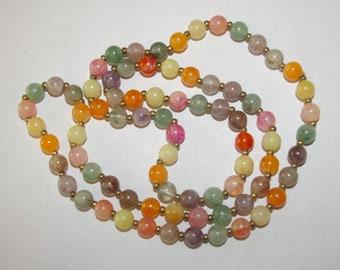 Multi Color Beaded Necklace, Long Length, Seasonal, Translucent, Marbelized, Vintage 1970's