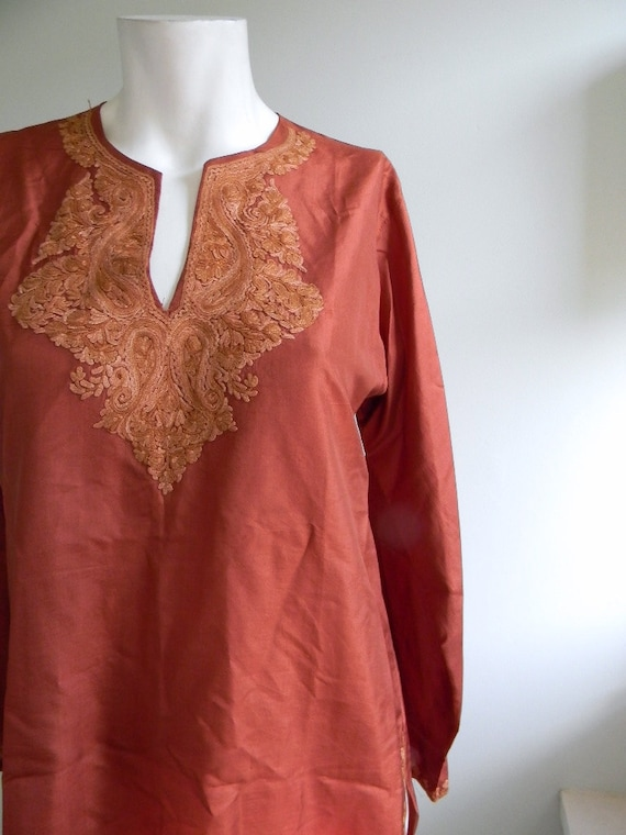 vintage. Silk Copper Indian Tunic / S M