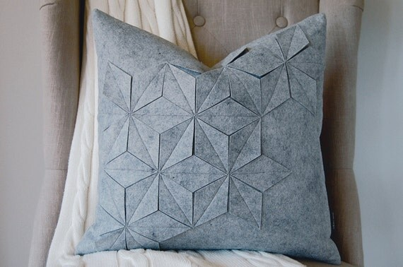 "Geometric Gray Wool Felt 18""x18"" Pillow"