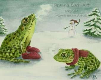 Cold Frogs - fairy fantasy gothic art by Deanna Bach