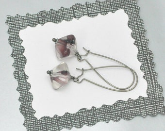 Upcycled Vintage Bead Earrings Purple and Clear Acrylic Octahedrons