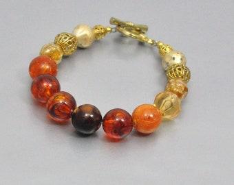 Vintage Bead Bracelet Amber Brown and Gold
