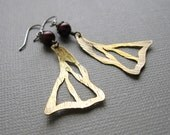 Butterfly Wings Artisan Earrings Red Pearl