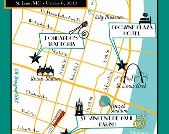 Custom Wedding Map Infographic with Itinerary -- St Louis, MO